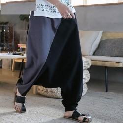 Mens Harem Pants Patchwork Joggers Cotton Elastic Waist
