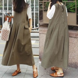 Sleeveless Casual Loose Pleated Party Dress