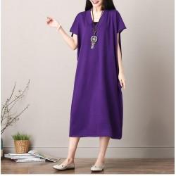 Batwing Elegant Lady V-Neck Oversized Long Dress