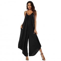 jumpsuits V-necktie backless maxi wide-legged