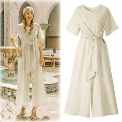 O Neck Comfortable Jumpsuits Maxi Overalls Belted Wide Leg
